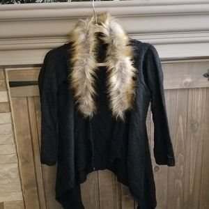 Sweaters - Faux fur cardigan